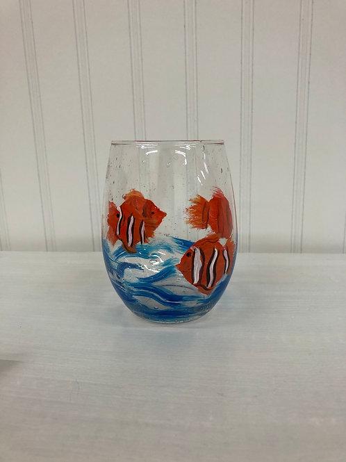 Hand painted Orange Fish Stemless Wine Glass