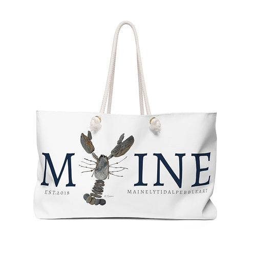 Maine Rock Lobster Weekender Bag, Beach Bag, Boat Bag, Bag White & Navy