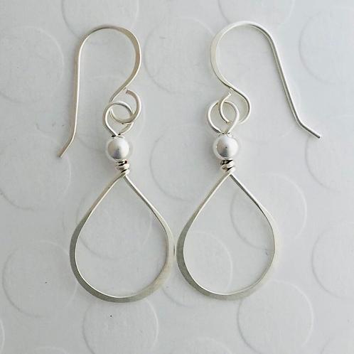Sterling Silver Tear Drop Earrings with silver bead.