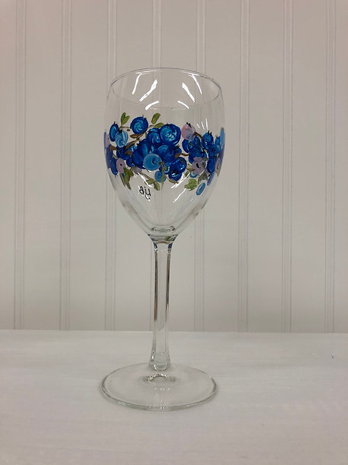 Hand painted Blueberry Wine Glass