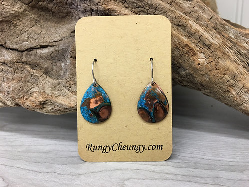 Domed Tear Drop patina on copper earrings