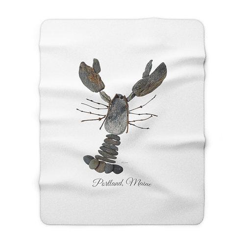 Mainely Tidal Rock Lobster Sherpa Fleece Blanket