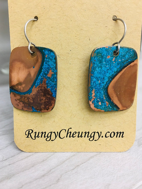 Blue Patina over Copper Earrings