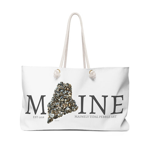Maine Pebble Art Weekender Bag, Boat Bag, Beach Bag,  White/Gray