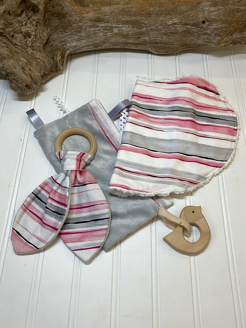 Pink & Gray Baby Set