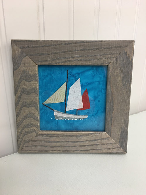 Maine Sailboat Fabric Collage