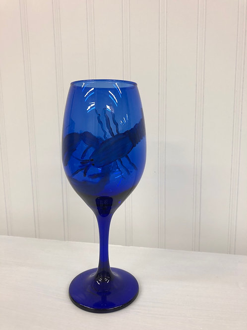 Hand painted Blue Lobster Wine Glass