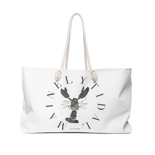 Mainely Tidal Rock Lobster Weekender Bag, Boat Bag, White & Gray
