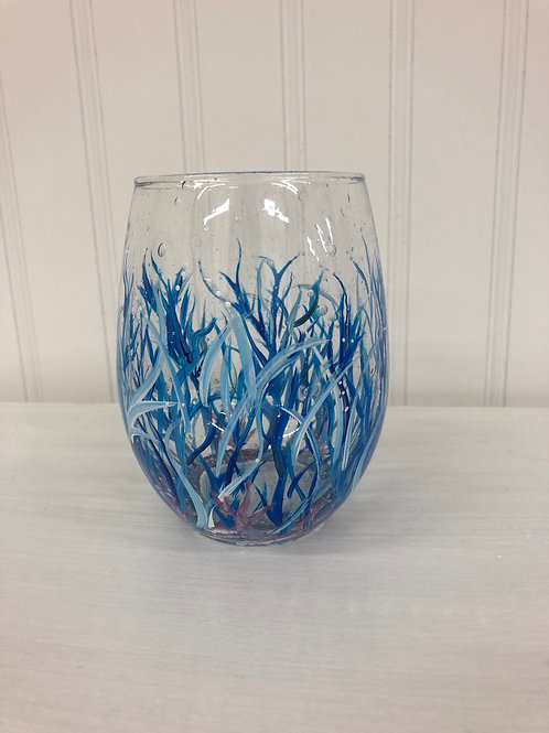 Hand painted Coral Stemless Wine Glass