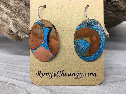Medium Oval Earrings Blue Patina over Copper