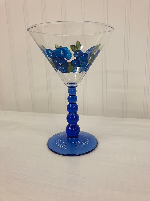 Hand painted Blueberry Martini Glass