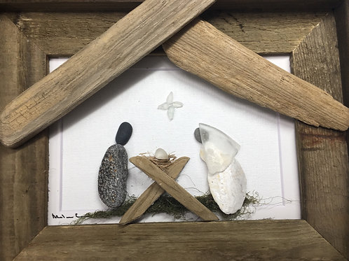 Nativity 5x7 Barn Wood frame