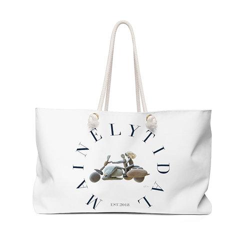 Maine Biker Weekender Bag, Bag for Him, Boat Bag, Oversized Bag, White & Navy