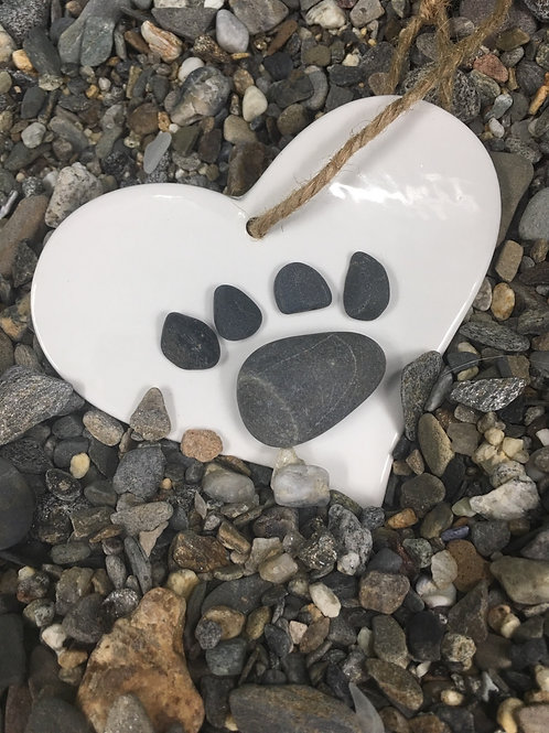 Dog paw Ornament in large ceramic heart