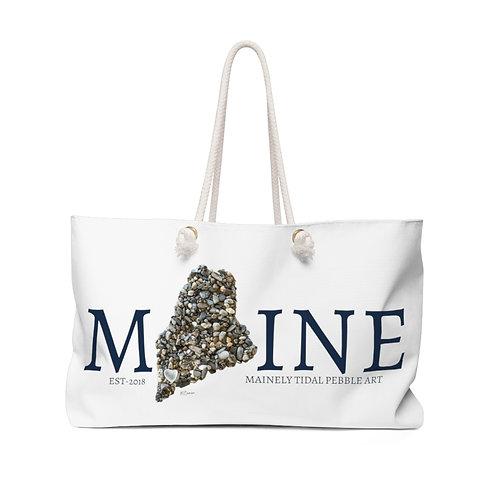 Maine Pebble Art Weekender Bag, Boat Bag, Beach Bag for Women, White/Navy