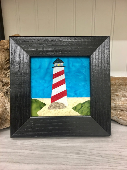 Maine Lighthouse Fabric Collage