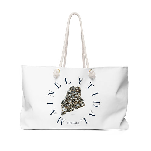 Mainely Tidal Maine Weekender Bag, Boat Bag White & Navy