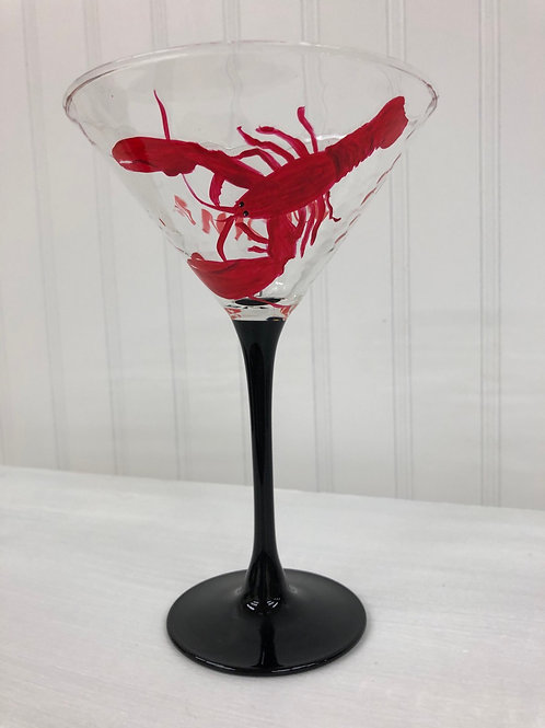 Hand painted Lobster Martini Glass
