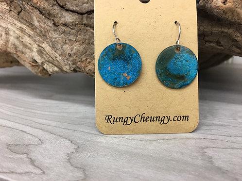 Medium Circular Blue Patina over Copper earrings