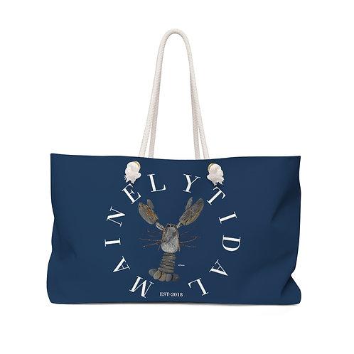 Mainely Tidal Rock Lobster, Weekender Bag, Beach Bag, Boat Bag Navy & White