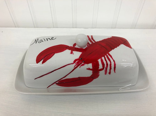 Hand painted Lobster Butter Dish