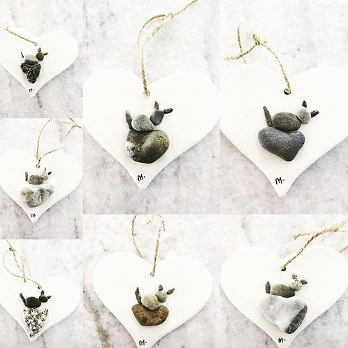 Kitty on Heart Rock Ornament (one ornament made to order)
