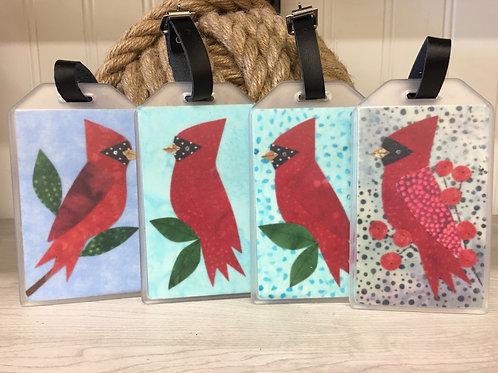 Maine Cardinal Fabric Collage Luggage Tag