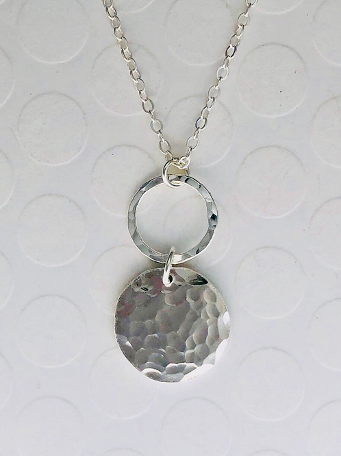 Fine Silver Disc and Circle Necklace on Silver Chain