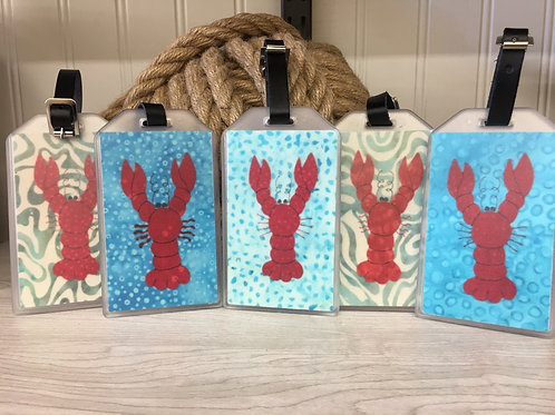 Maine Lobster Fabric Collage Luggage Tag