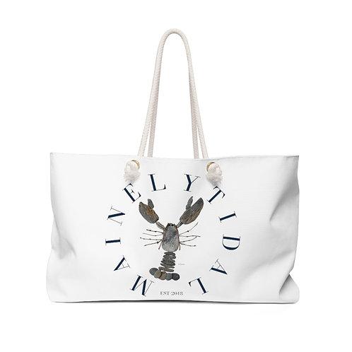 Mainely Tidal Rock Lobster Weekender Bag, Beach Bag, Boat Bag White/Navy