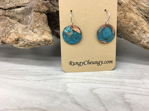 Small circular Blue Patina over Copper earrings