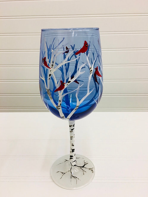 Hand painted Cardinals in Birch Wine Glass