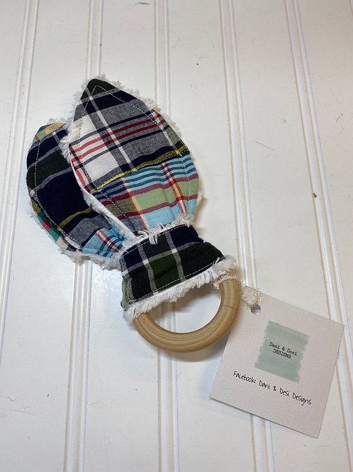 Plaid Baby Crinkle Teether
