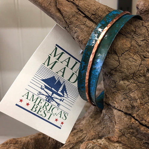 Two Toned Cuff Blue Patina over Copper