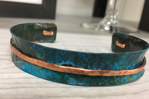 Two toned Blue Patina over Copper Cuff