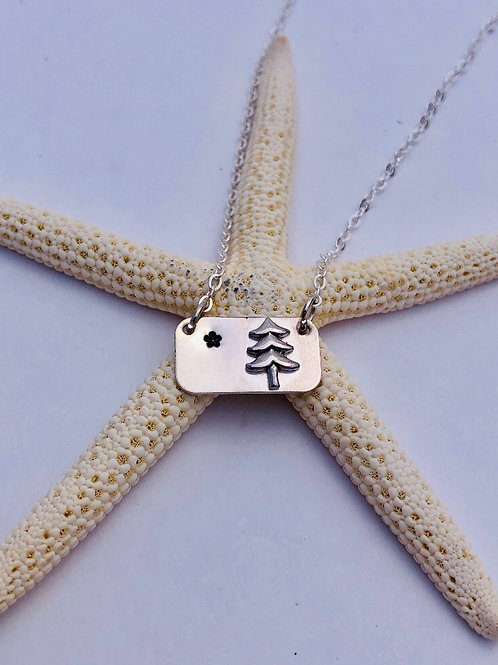 Original Maine State Flag Necklace - Sterling Silver