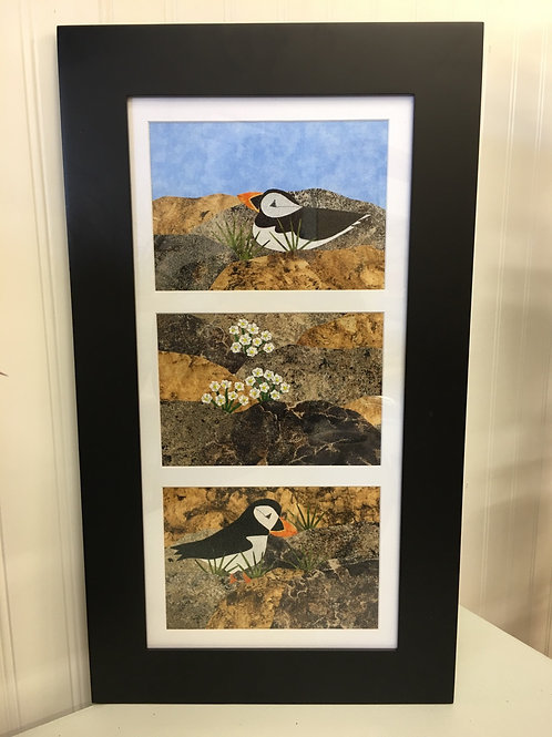 Maine Puffins on Cliff