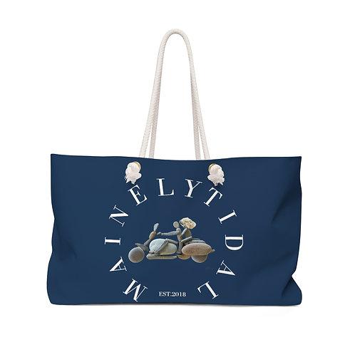 Maine Biker Weekender Bag for him, Boat Bag, Oversized Everyday Bag Navy & White