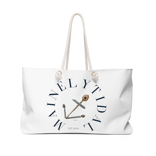 Mainely Tidal Pebble Art Anchor Weekender Bag, Navy & White