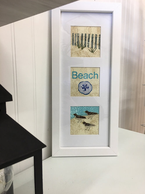 Maine Beach or Seashell Fabric Collage