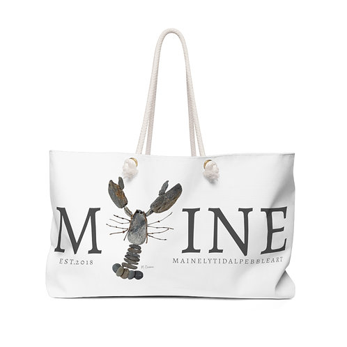 Maine Rock Lobster Weekender Bag, Beach Bag, Boat Bag White & Gray