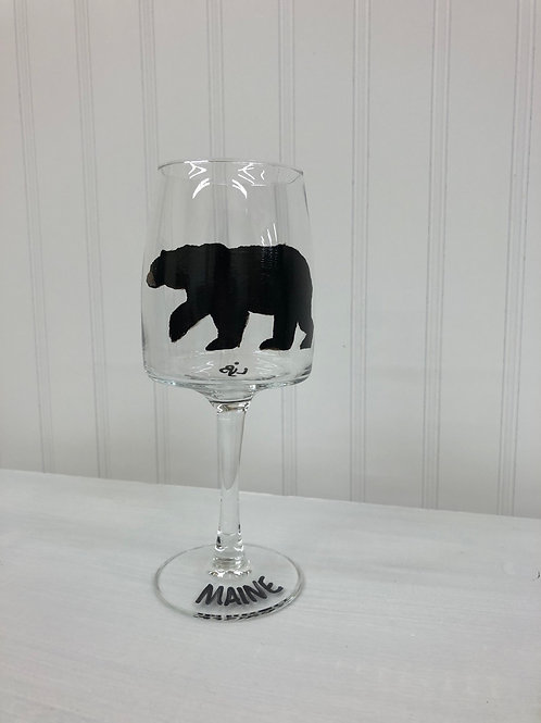 Hand painted Black Bear Wine Glass