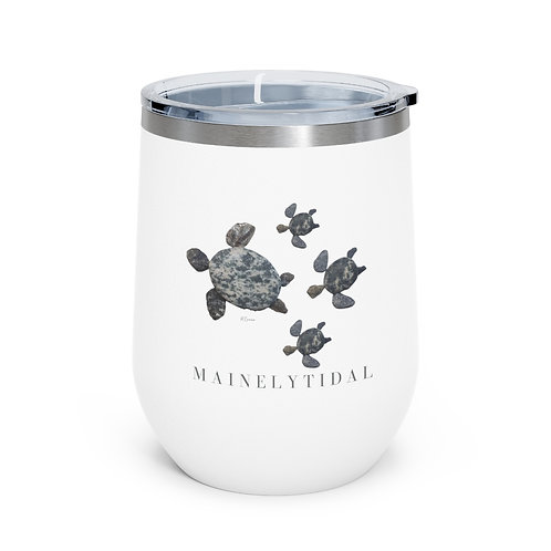 Mainely Tidal Turtle Family  Insulated Wine Tumbler