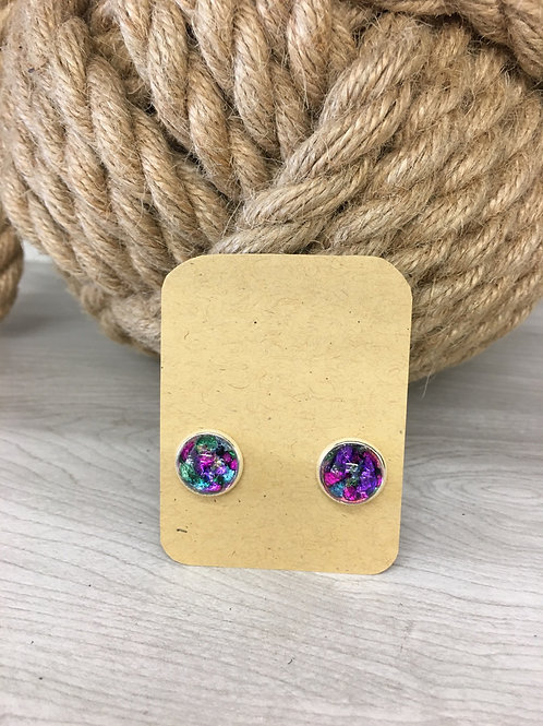 Hand painted glass dome stud earrings