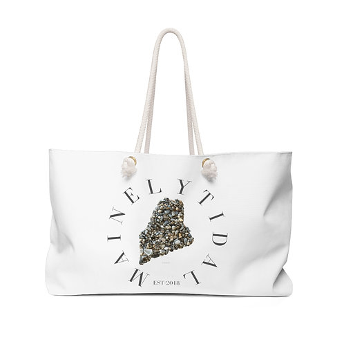Mainely Tidal Maine Weekender Bag, Boat Bag White & Gray