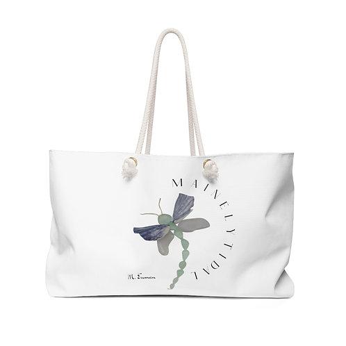 Maine Sea Glass Dragonfly Weekender Bag, Boat Bag, Beach Bag