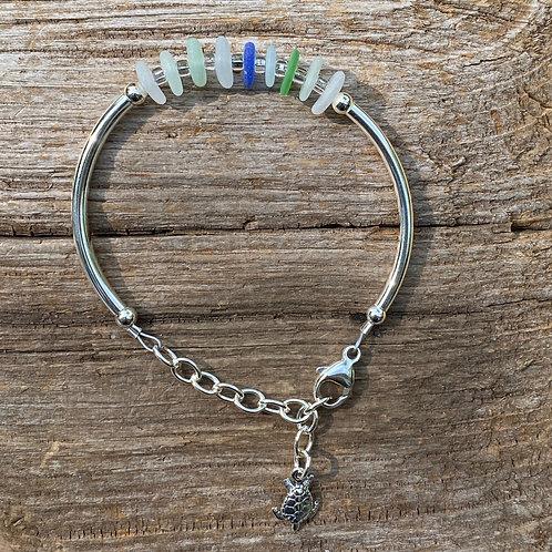 Sea Glass Hard Sided Adjustable Bracelet