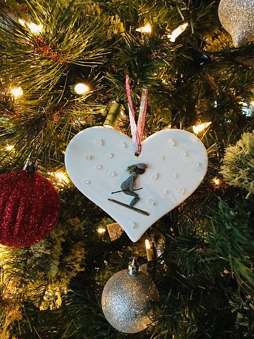 "Skiing 4"" ceramic heart"