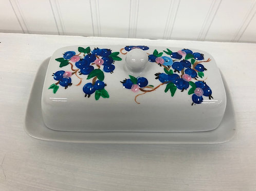 Hand painted Blueberry Butter Dish