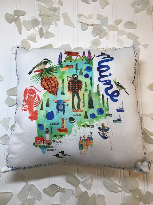 Small Printed Maine pillow